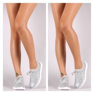 Shoes - New Arrival- Silver Glitter Sneakers